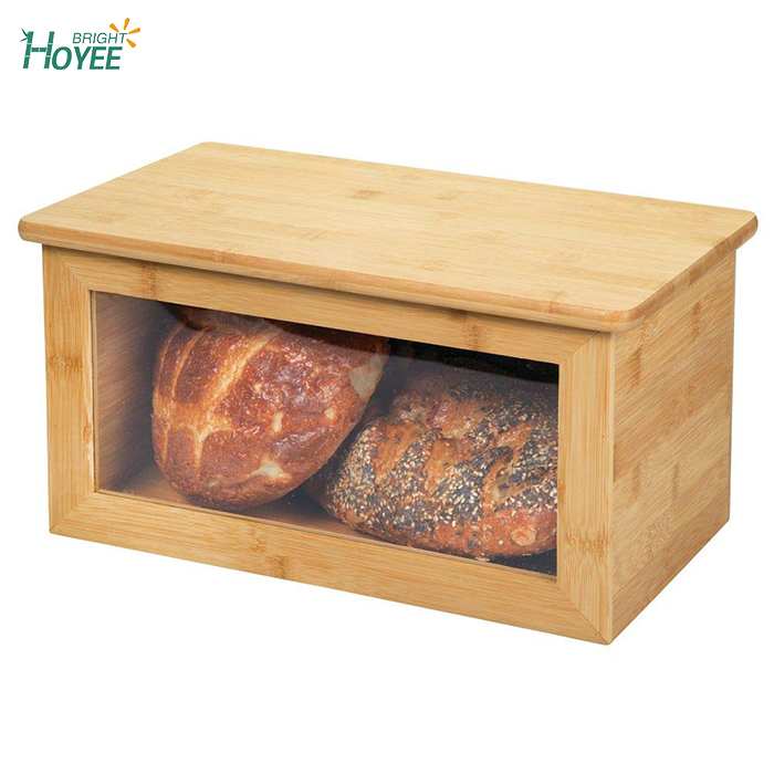 100 Bamboo Bread Box Bin With Lid Front Window For